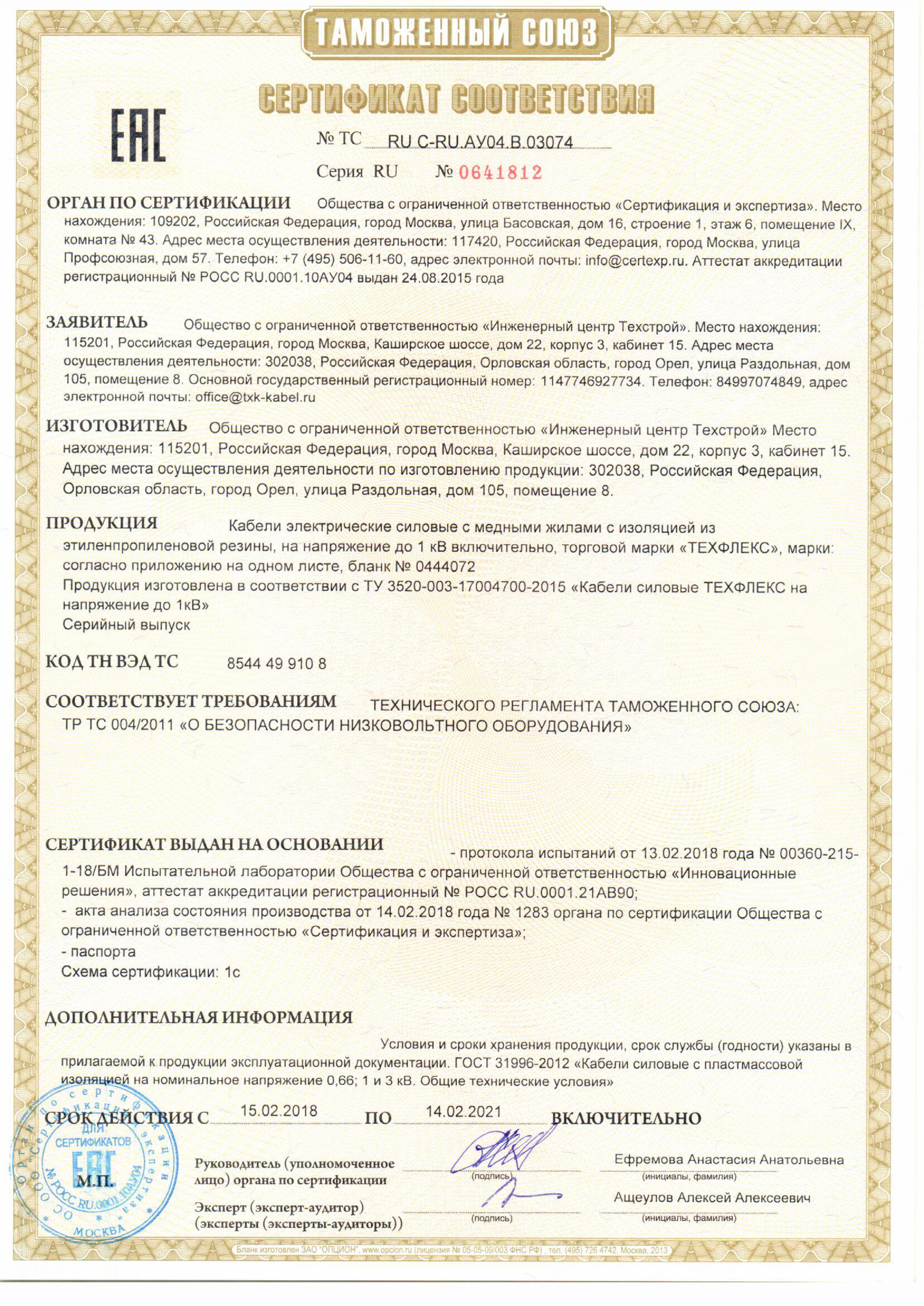 Certificate of Conformity to Technical Specifications for Power Cables of Voltage under 1 kV