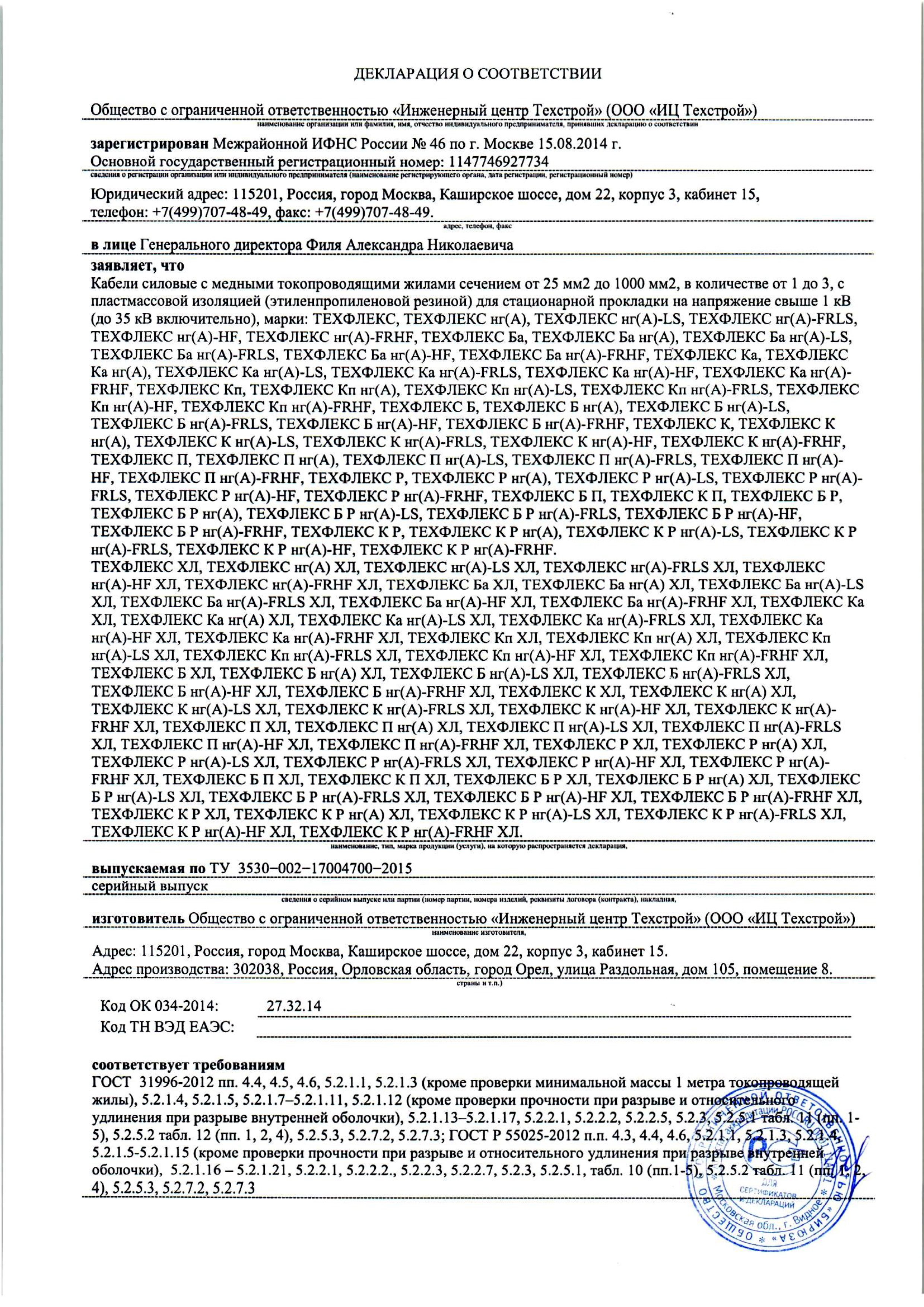 Declaration of Сonformity of the Products to the Requirements of GOST